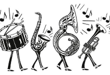 drum, sax, tuba, trumpet, with legs in black and white