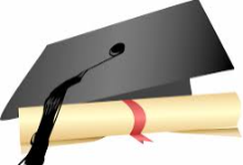 picture of black graduation cap with a rolled up diploma