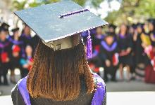 black cap and purple tassle graduation