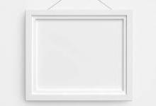 White photo frame on white backdrop
