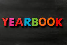 """The word """"yearbook"""" with multicolored letters spread against a black background"""