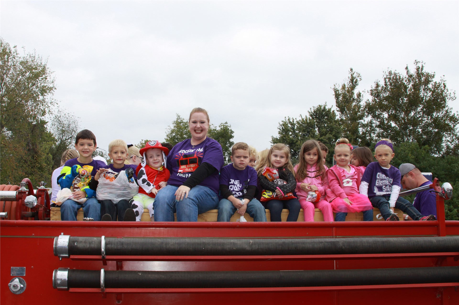 Mrs. Parson's class during the Octoberfest Parade after winning the CES Boot Drive.
