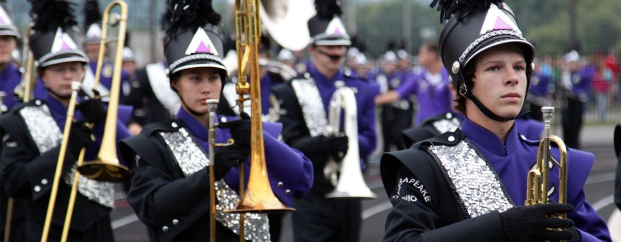 Students In Marching Band Holding Instruments