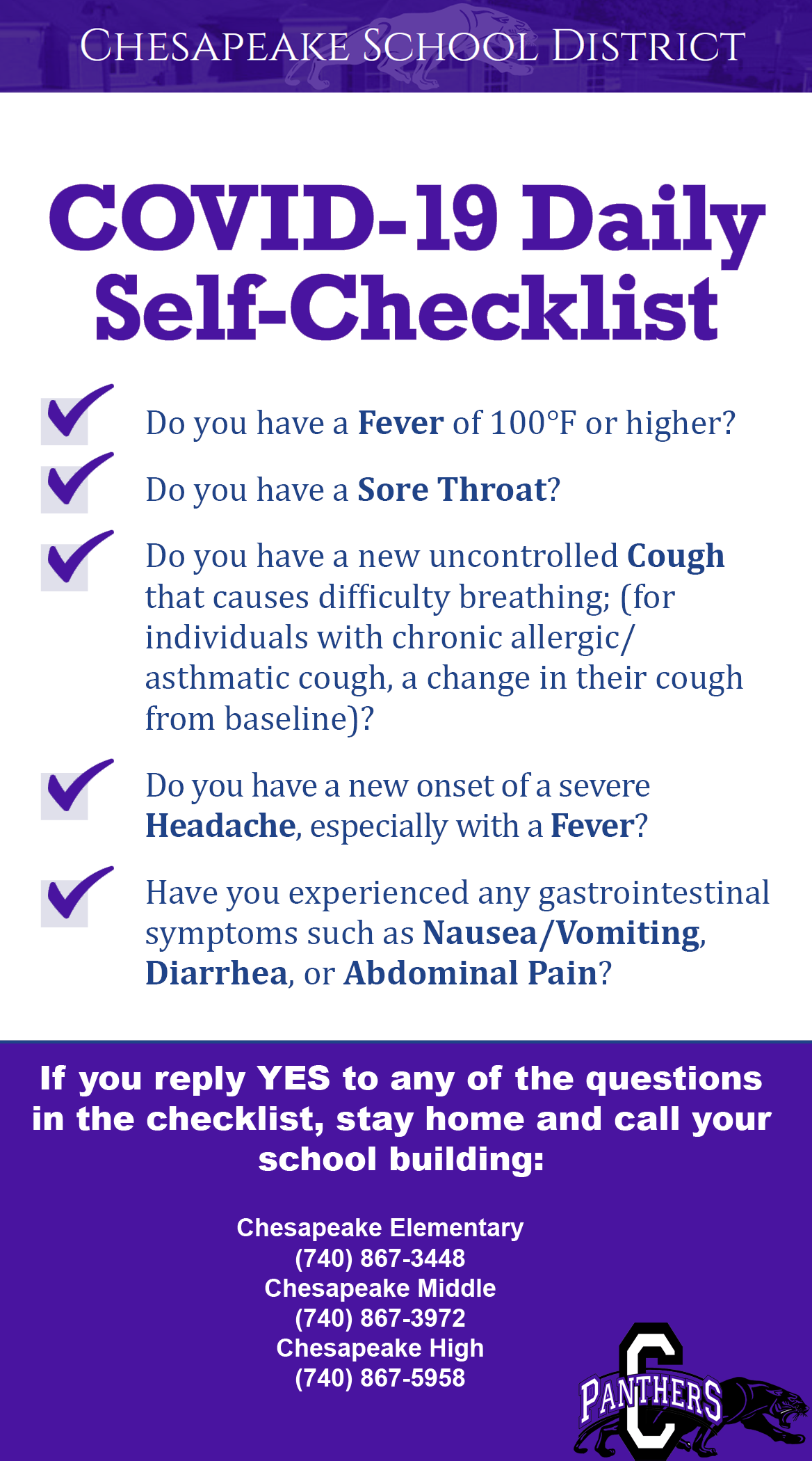 Contact buildings if COVID exposure or symptoms